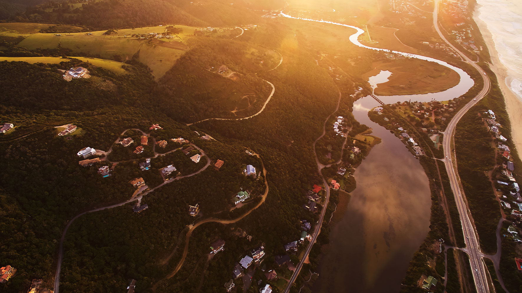 wilderness lifestyle dji sunrise river hills contours